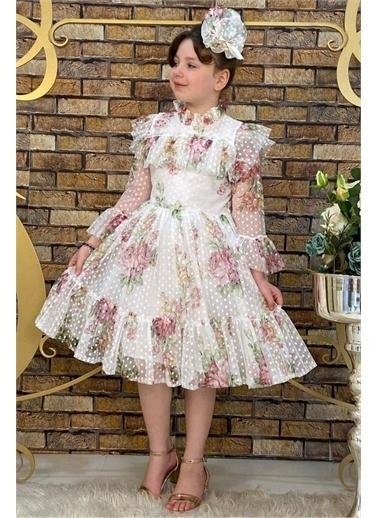 Riccotarz Kız Çocuk Çiçekli Prenses Elbise Beyaz